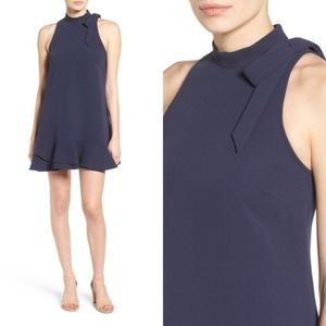Likely Grace Navy High Neck A-Line Bow Dress Small